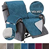 Turquoize Recliner Cover Velvet Recliner Chair Cover, Pet Cover for Recliner with Elastic Straps Recliner Sofa Slipcover for Living Room Furniture Protector (Seat Width Up to 28', Peacock Blue)