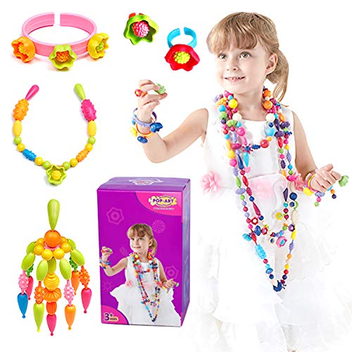 LITTLESMET Pop Beads Girls Toys DIY Jewelry Making Kit for Girls Beads for Kids Making Necklace Bracelet Ring Art Craft Toys Christmas Birthday Gifts for 3, 4, 5, 6, 7 Years Old Girls