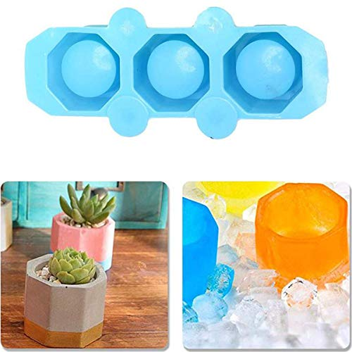 3 Cavities Handy Plants Pot Mould,DIY Garden Flower Pot Mold for Succulent Plant Flower Pot,Multifunction DIY Small Molds for Cake Muffin Candle Making,Blue,1Pcs