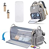 Diaper Bag Backpack, HEATOO Diaper Bag with Changing Station, Portable 3 in 1 Nappy Baby Diaper Backpack with Bassinet, Multifunction Travel Bag Backpack for Baby with Stroller Large Capacity