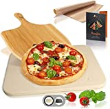 NEWANOVI Pizzastein für Backofen und Gasgrill, Set 4tlg inkl. Pizza Stein,...