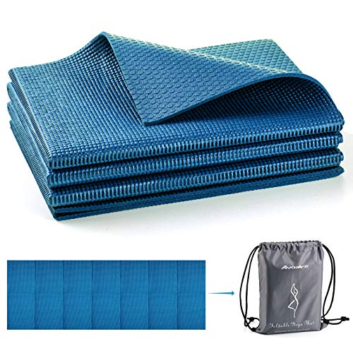 Avoalre Yoga Mat Foldable Non Slip 66''L x 24''W x 1/4inch Thick Portable Eco Friendly Anti-Tear Fitness Exercise Mat Travel Outdoor Yoga Mat with Carry Bag for Yoga, Pilates Gym and Floor Workouts