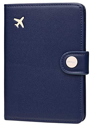 Zoppen Passport Cover for Women Travel Wallet Passport Holder Cover Slim Id Card Case (#23 Navy Blue)