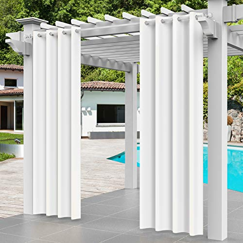 TORMAYS Outdoor Curtain Panel Drapery Grommet Top Patio Thermal Insulated Blackout Drape for Pergola, Porch, Deck, Lanai, and Cabana 1 Piece (W52× L84, White)