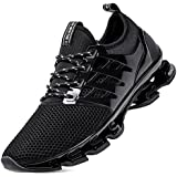 Mens All Black Sneakers mesh Breathable Comfort Athletic Walking Shoes Youth Boys Casual Tennis Size 7 Man Gym Jogging Fashion Running Trainers (8066-Black-40)