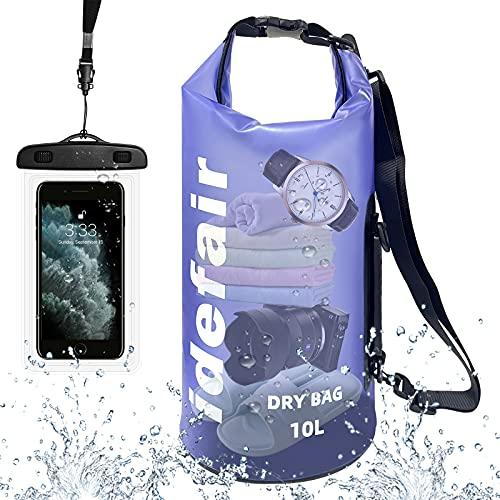 Idefair Bolsa Seca Impermeable,Mochila Seca Flotante con Tapa Enrollable, Bolsa Ligera de Almacenamiento en seco con Funda para teléfono para Viajes a la Playa
