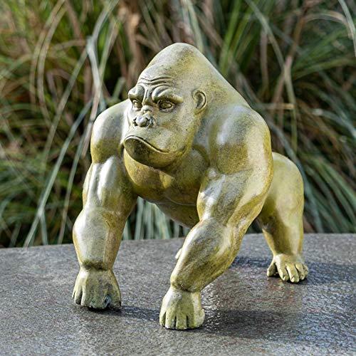 IDYL Escultura de bronce pequeña moderna de Gorilla, 27 x 22 x 31 cm, moderna figura de bronce hecha a mano, escultura de jardín y decoración, artesanía de alta calidad, resistente a la intemperie