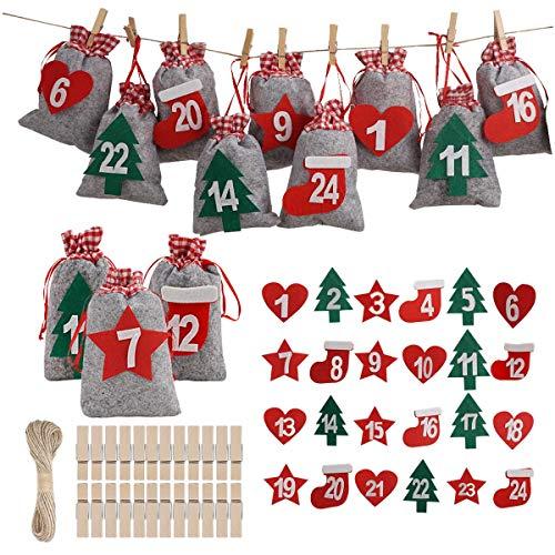 Herefun 24 Adventskalender zum Befüllen, Adventskalender Tüten mit 1-24 Adventszahlen Aufkleber, Weihnachten Geschenksäckchen, Weihnachtskalender Tüten Geschenkbeutel DIY Bastelset