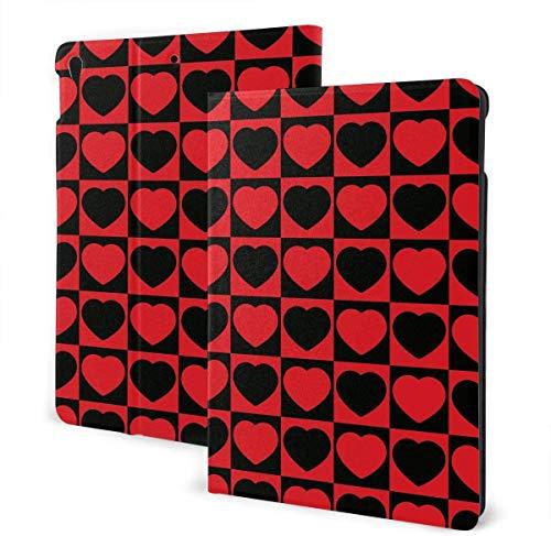 Piggy Bank Money Pixel Art Cartoon Retro Game Case for IPad Air 3rd Gen 10.5' 2019 / IPad Pro 10.5' 2017 Multi-Angle Folio Stand Auto Sleep/Wake for IPad 10.5 Inch Tablet-Red Black Heart Romantic-One