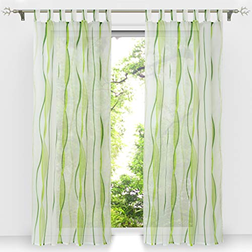 voile slit curtain HongYa clear kitchen Polyester Green H//B: 80//80 cm small window curtain. short stores drawstring