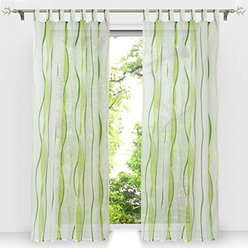 HongYa 1er-Pack Voile Gardine Transparenter Vorhang mit Schlaufen Wellen Druck H/B 245/140 cm Creme Grün