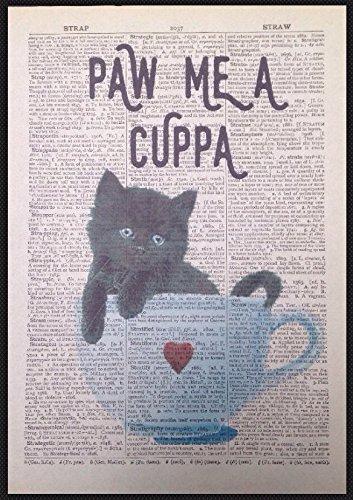 Parksmoonprints - Stampa artistica da parete, motivo: gattino nero con pagina di dizionario vintage