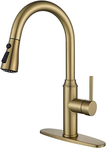 Gold Kitchen Faucet with Sprayer,Single Handle Kitchen Sink Faucet with Pull Out Sprayer, Champagne Bronze,Arofa