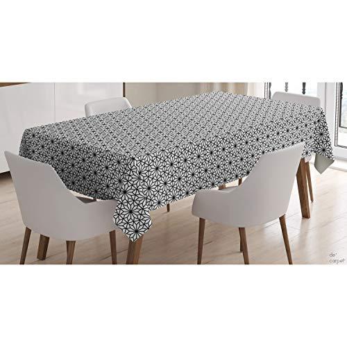 De'Carpet Mantel Antimanchas Resinado Hule Teflon Flor Geométrica Negra (100x140cm)