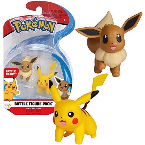 Pokemon 2 Inch Battle Action Figure 2-Pack, Pikachu vs Eevee