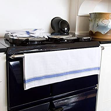 Kitchen Dish Towels - Set of 12 With Loop ( 100% Cotton Large 28 x20  ) - Longer Lasting, Super Absorbent In Vintage White with Blue Stripes - Unique Herringbone Design for Fast Drying & Low Lint