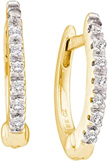 Mia Diamonds 10kt Yellow Gold Womens Round Prong-set Diamond Single Row Hoop Earrings (.08cttw) (I2-I3)
