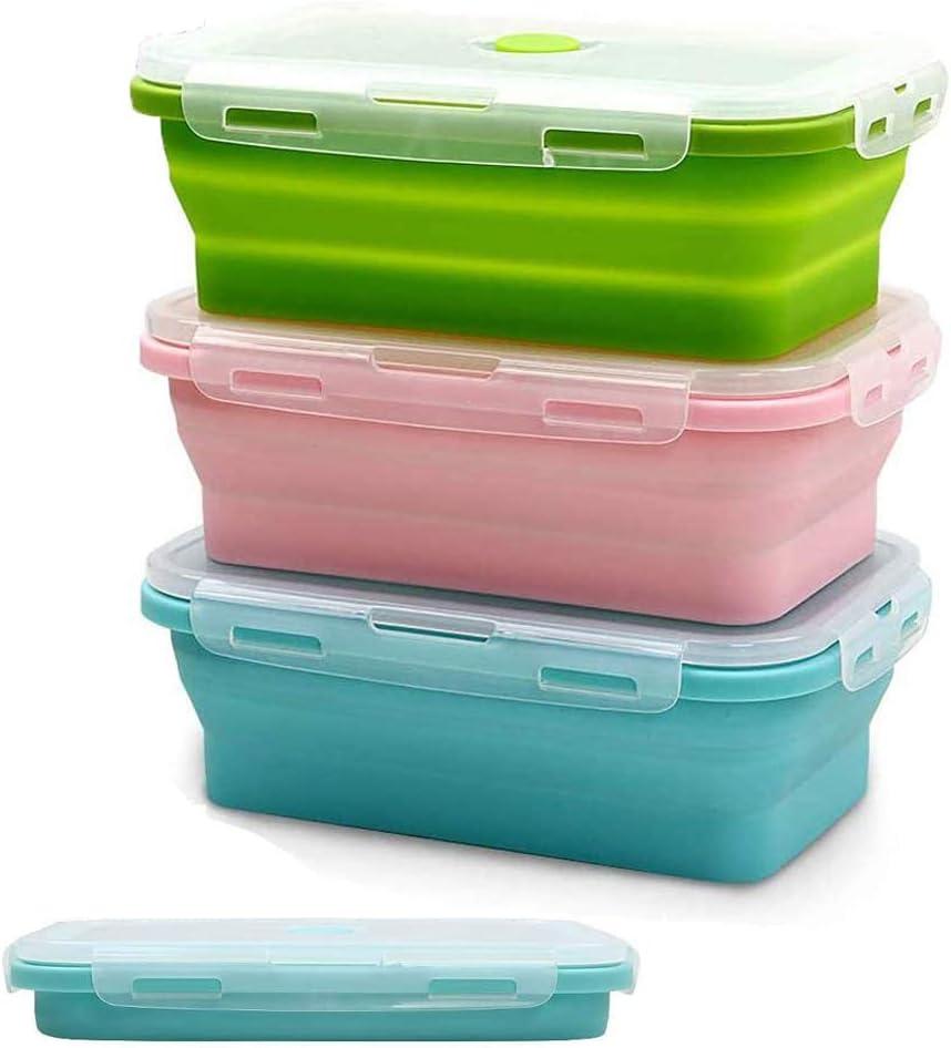 SUPEROK Lonchera de Silicona,3cajas de Silicona Plegable para Alimentos, Reutilizables, sin BPA,para Almacenamiento de Alimentos el Almuerzo, refrigerador y Horno (1200ml)
