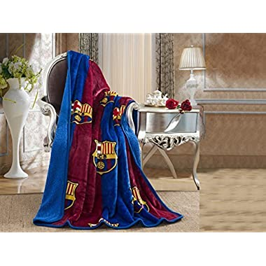 FCBarcelona Silk Touch Sherpa Lined Throw Blanket 50x60