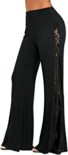 Minisoya Fashion Women High Waist Flowy Lace Patchwork Wide Leg Palazzo Pants Leggings Casual Loose Lounge Trousers