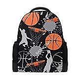 QMIN Mochila de baloncesto con patrón deportivo, para la escuela, para viajes, universidad, senderismo, camping, bolsa de hombro, organizador para niños, niñas, mujeres y hombres