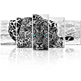 Black and White Animal Canvas Wall Art,Abstract Leopard Canvas Prints with Frame,Attractive Leopard Picture Decorative,Easy Hanging On,More Size Optional (16 (10'x16'x2+10'x20'x2+10'x24'x1)
