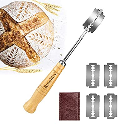 Bread Lame,Bakers Lame Bread Baking Tool Set for Homemade Ergonomic Lame Bread Slashing Tool with 5 Sharp Blades and Leather Protective Cover for Bread, Cake, Pizza (Bread Lame?5 Knives)