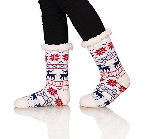 SDBING Women's Winter Super Soft Warm Cozy Fuzzy Snowflake Deer Fleece-Lined with Grippers Slipper Socks (White)
