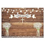 Funnytree 7x5ft First Holy Communion Baptism Party Backdrop Rustic Wood God Bless Floral Photography Background Christening Mason Jars Flower Baby Shower Cake Table Decoration Banner Photo Booth