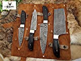 4 Pieces Chef Knives Set, Slicer, Chef, Cleaver Overall 37 Inches Full Tang Hand Forged Damascus Steel Blade, Custom Made Leather Sheath