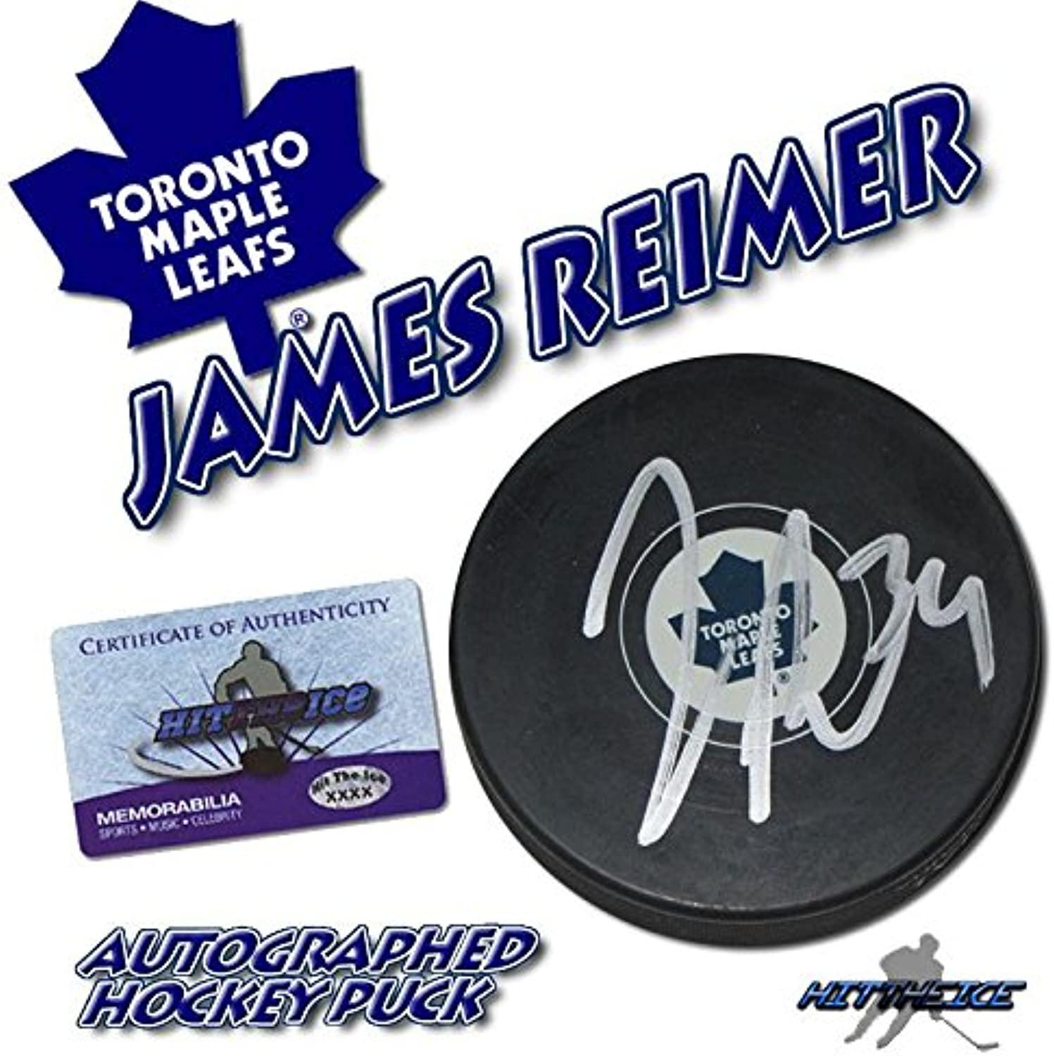 James REIMER Signed Tgoldnto Maple Leafs Puck w COA New  4  Autographed NHL Pucks