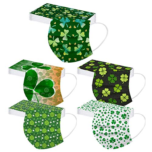 50 Pack ST Saint Patricks Day Disposable Face Mask for Adult With Designs Cute Paper Masks Full Face Cover Protections (10)