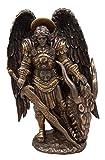 Atlantic Collectibles Catholic Church Saint Archangel Warrior Michael Holding Satan Dragon Head Decorative Figurine 10.75' H
