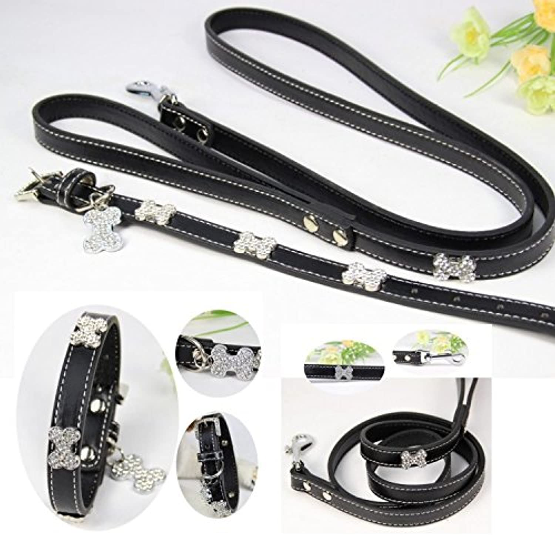 AOBILE(TM) (1 collar + 1 leashes) Pet Dog Collar Leashes Perro Lead S M L Black Bling Diamond Bone Large Dog Collar leashes