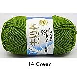 LINGE 50G / Bola Hilo para Tejer Hilo de algodón de Leche Bufanda de InviernoHilo de Lana de bebé Manta Suéter Bufanda Hilo Textil para el hogar, 14 Verde