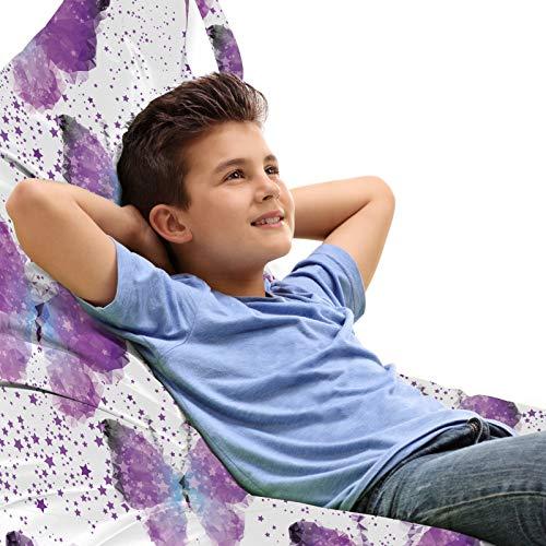 ABAKUHAUS Schmetterling Unicorn Toy Bag Lounger Stuhl, Moderne Poly Effect, Hochleistungskuscheltieraufbewahrung mit Griff, Lila Hellblau Weiß
