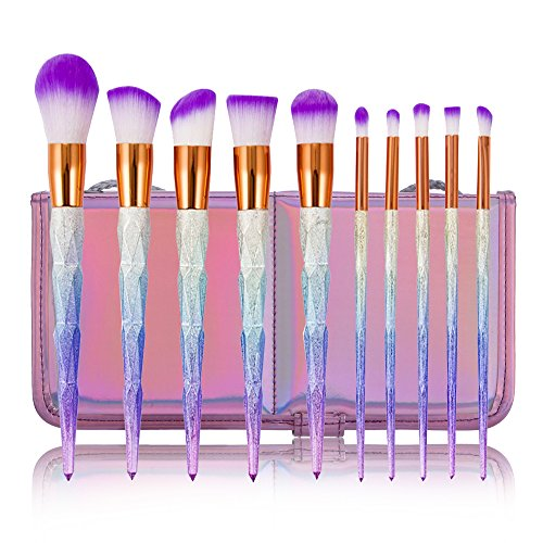 CDC 10Pcs Unicorn Rainbow Diamond Handle Soft Synthetic Hair Makeup Brush Set Make Up Brushes Eyeshadow Blusher Powder Blending Brush Kit with Carry Bag
