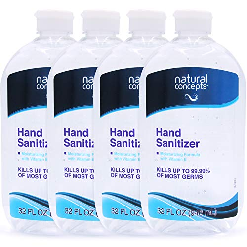 Natural Concepts Hand Sanitizer Gel, Bulk Pack of 4, 32 oz Bottles, 65% Ethyl Alcohol, Protect Against Germs On-The-Go with a Refreshing Vitamin E Formula