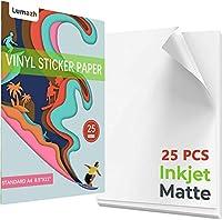 印刷可能なビニールステッカー用紙25枚 インクジェットプリンター用 光沢ホワイト 粘着シート 防水デカールペーパー 標準レターサイズ A4 8.5インチx11インチ
