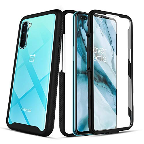 PULEN for OnePlus Nord Case,with Built-in Screen Protector,Full-Body Rugged TPU Shock Absorption Shatter-Resistant Bumper + Clear PC Back Anti-Drop Cover - Black