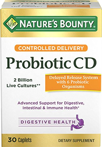 Nature's Bounty Probiotics Pills Controlled Delivery Dietary Supplement, Supports Digestive and Intestinal Health, 30 Caplets