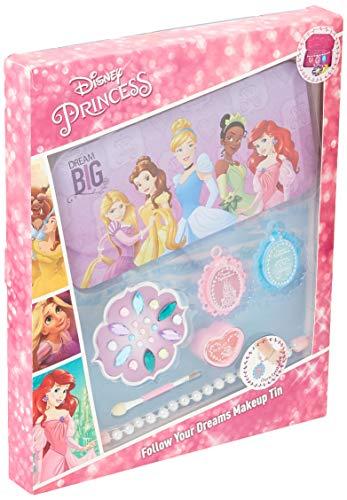 Markwins Disney Princesses Coffret cadeau dans boîte métallique avec impression Princesse, 1 paquet (ombre à paupières, gloss, applicateur pour lèvres et yeux, bracelet en perles et strass à coller)