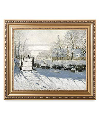 DECORARTS - 'The Magpie' by Claude Monet. Classic Art Reproduction, Giclee Print on Canvas. Ready to Hang Framed Wall Art for Wall Decor. Total Size w/Frame: 30x26