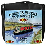 Personalised Wash Bag Narrowboat Canal Barge Hanging Toiletry Bag | Travel Make up Cosmetic| Overnight Bag ** Add a Name **