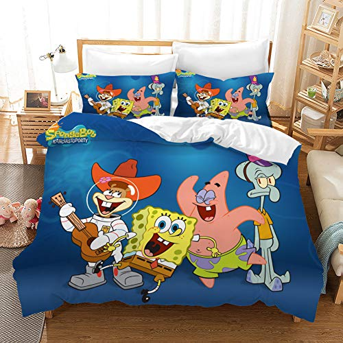CLOVERDRESS Duvet Cover Spongebob Squarepants Movie Style Bedding Set, for Cartoon Fans, for Your Kids and Friends Style3 Full