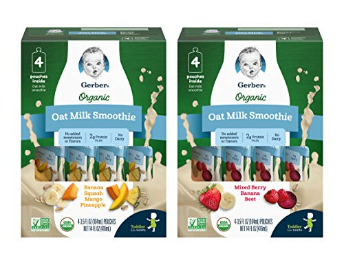 Gerber 1st Foods Gerber Organic Oat Milk Smoothie Variety Pack - 1 Box Banana, Squash, Mango & Pineapple - 1 Box Mixed Berry, Banana & Beet - 3.5 Fl Oz (4 ct/Box) (Pack Of 2 Boxes), 2Count