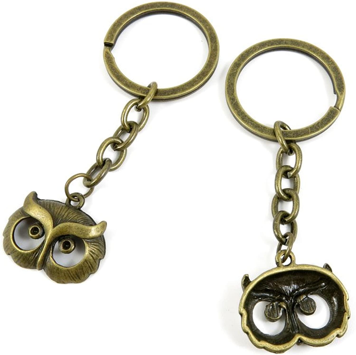 100 PCS Keyrings Keychains Key Ring Chains Tags Jewelry Findings Clasps Buckles Supplies F4TC5 Owl
