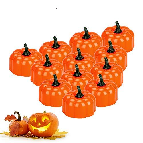 Halloween Pumpkin Lights, E-More 12pcs a Batteria senza Fiamma LED Tea Lights Candela per Halloween, Ringraziamento, Natale e Decorazioni Natalizie