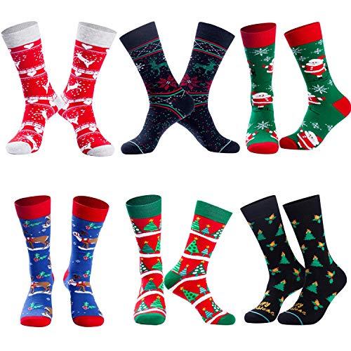 Bircen 6 Paar Weihnachten Socken,Weihnachtssocken für Damen und Herren,Weihnachten Festlicher Baumwolle Socken Super Warm Socken Mix Design EU 40-46
