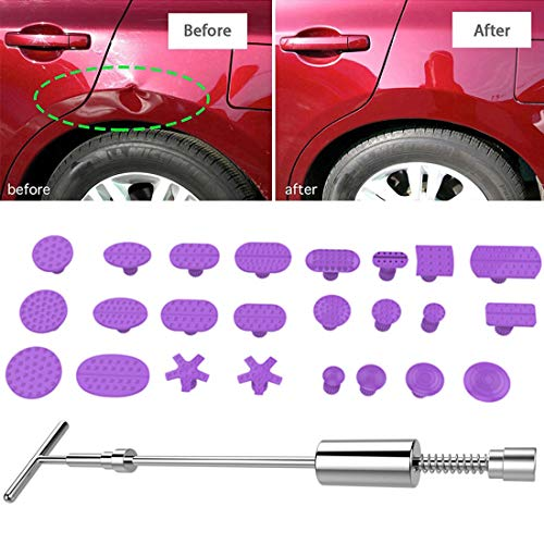 Tangmeiyu Reparación CMF Auto Body Kit de herramientas PDR abolladura sin pintura Herramientas de reparación de la abolladura del tirador Martillo deslizante inversas Martillo de aluminio Ventosas con